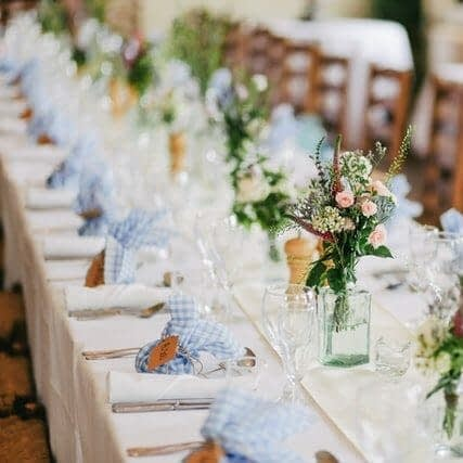 table setting at a rustic wedding