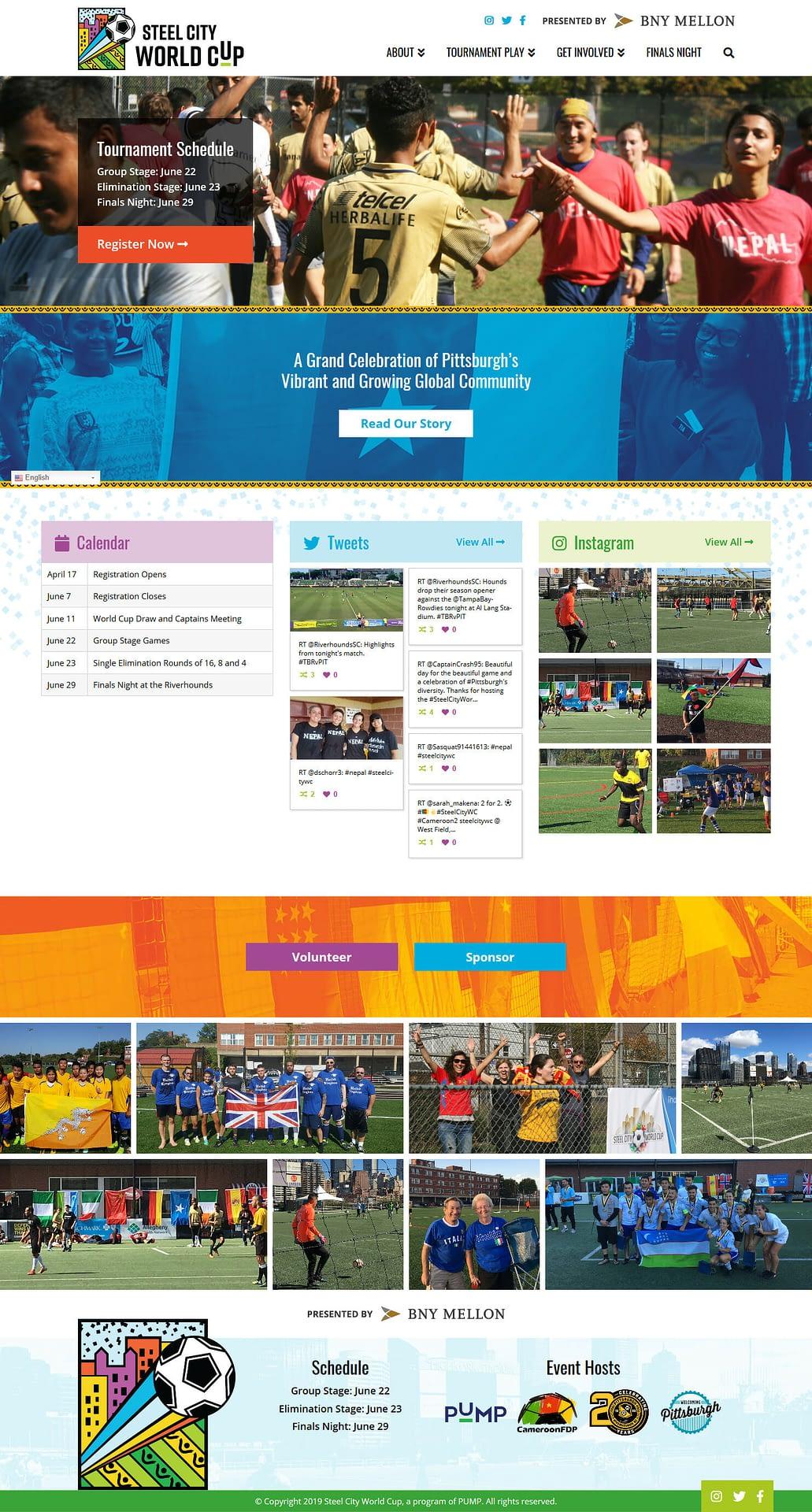 Steel City World Cup Homepage Mockup